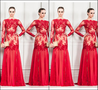 Reference Images Jewel/Bateau Tulle 2014 Zuhair Murad Evening Dresses Red Bateau Neckline Long Sleeve Appliques Mermaid Floor Length Lace Tulle New Prom Pageant Party Gowns