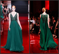 Elie Saab V- Neck Evening Dress 2014 Exquisite Handmade Prom ...