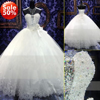 Wholesale 2014 Zuhair Murad New Wedding Dress Bridal Gown With Ball Gown SWAROVSKI Luxury Crystals Sweep Train Beaded White Or Ivory Lace UP