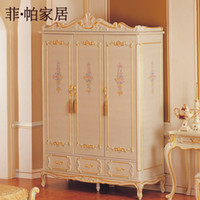 Wholesale royal luxury bedroom furniture hand carving solid wood baroque wardrobe