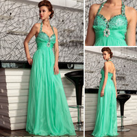 Model Pictures Halter Chiffon 2014 New Collection Most Sexy Prom Dress Beads A Line Halter Neck Floor Length Long Evening Gowns for Girls Pageant Dresses for Teens