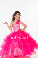 Reference Images Girl Crystals Sequins 2013 Sexy One-shoulder with Flowers Crystals Sequins Beads Ruffles Long Ball Gown Fuchsia Little Girl's Pageant Dresses 81803S