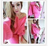 Wholesale Hot New Women s Sexy Bra neck Lantern sleeve shirt bat loose long sleeved sweater dress