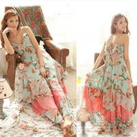 Flora Printed Dresses printed chiffon - S5Q Women Floral Beach Deep V Neck Boho Maxi Long Chiffon Long Dress Summer AAABVI