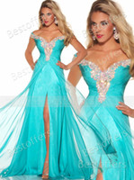 Reference Images Off-the-Shoulder Chiffon Custom made Rich Beaded off the shoulder straps Long Chiffon dress Aqua Formal Evening Prom Pageant Dress Gowns 81636P