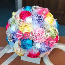 Wholesale 15 Styles Artificial Flowers Wedding Bouquet Colorful Lavender Pink White Red Roses Crystals Hand Holding Silk Wedding Favors in Stock