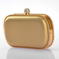 beaded cases - New Crysta Bags Bridal Party Purse Clutch Evening Bridal Handbag Gold case With Chain Hardbox
