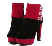 Wholesale New fashion women short boots round toe thick heel Rhinestone decorate platform pumps high heel boots