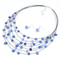 shell shell necklace and earring - Fashion Jewelry orean exquisite crystal multi layer shell necklace and earrings set sets