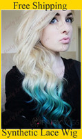 Wholesale Cheap fashion wavy two tone ombre hair color blond amp green Synthetic lace front wigs