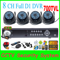 Wholesale 8CH H FUll D1 H Real time P HDMI Network DVR KIT Sony Exview HAD CCD II Effio E TVL IR mm camera System with TB HDD