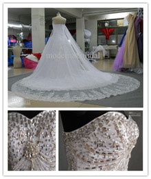 Wholesale 2014 Zuhair Murad Wedding Dress Gergous With Veils White SweetHeart Sequins Ball Gown Swarovski Crystals Lace up Bridal Dress