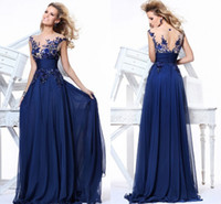 Wholesale Vestidos Formales Elegant Royal Blue Evening Dresses Lace Crew Neck Illusion Cap Sleeves Empire Waist Appliques Prom Dresses TE92130