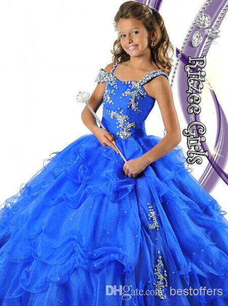 Buy Custom made 6464 Glitz Pageant Dresses Girls crystals sequins fitted bodice ruffles skirt ball gown gilrs dresses