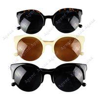 Wholesale Fashion Unisex women men s Retro Designer Super Round Circle Cat Eye Semi Rimless Sunglasses Glasses Goggles