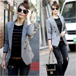 Wholesale S5Q New Women Long Sleeves Cotton Casual Minisuit Blazer Slim Fit Grey AAAAWM