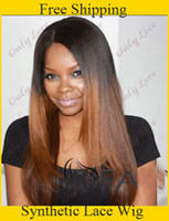 Wholesale cheap heat resistant yaki straight two tone Black to Brown Ombre Wigs synthetic lace front wigs with middle part
