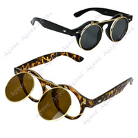 Resin retro style sunglasses - New Arrival Women s Mens designer Retro Style Flip Up Round Steampunk Sunglasses