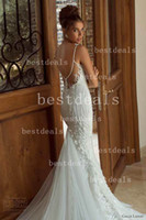 Wholesale 2014 Sexy Spaghetti Tulle lace Mermaid Wedding Dresses Applique Beaded Backless Bridal Gowns wedding gowns GL1405