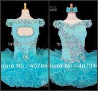 Wholesale Little Girls Cupcake Glitz Pageant Dresses blue Flower Beaded Organza Pageant Dress AH