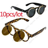 Wholesale 10pcs New Arrival Women s Mens designer Retro Style Flip Up Round Steampunk Sunglasses