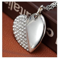 Wholesale Full capacity GB GB USB2 Memory Stick Flash Drive lovely heart shape design Crystal necklace usb Fashion Accessories