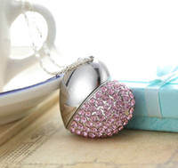 Wholesale Full capacity G GB USB2 Memory Stick Flash Drive lovely heart shape pendant Crystal necklace Fashion Accessories