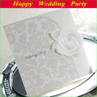 Invitations & Invitation Buckles embossed wedding invitations - 13112806 Rose Wedding Invitations Card Elegant Embossed White Tri fold W free envelop and seal and