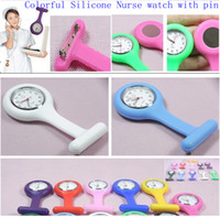 Nurse Unisex Quartz Free shipping 100PCS lot Colorful Silicone Nurse Watch with Pin Silicone pin luminous Pointer Nurse watch silicone Pocket Watch(11 colours)
