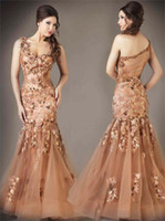 Wholesale 2014 Beautiful Appliques and Beads Decorated Prom Dresses One Shoulder Sheer Back Handmade Flowers Mermaid Floor Length Tulle Evening Gowns