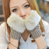 Wholesale Fashion Winter Arm Warmer Fingerless women Gloves Knitted Fur Trim Gloves Mitten