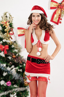 Wholesale Arbitraging Christmas split red christmas installation spaghetti strap short skirt hat