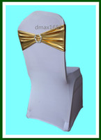 Wholesale Polyester Gold Chair Bands With plastic Buckle Chair Cover Sash Chair Band In Chair Cover For Wedding Events Decoration By DHL Or FedEx Free