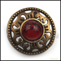Wholesale 105pcs Red Bead Vintage Bronze Round Button Fit Sew on Coat clothes pants mm