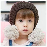 Girl Winter Crochet Hats Free shipping (10 pcs lot) 2013 Wholesale New Baby Children baby hat crochet Fashion Striped double ball winter caps PL171