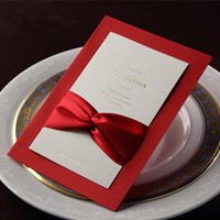 Invitation Cards Folded Ivory Formal Red Silk Tie Business Party Wedding Invitations Cards (10 Pcs Lot) with Envelopes and Seal, Printable and Customizable