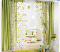 Wholesale Small broken flower double wire netting fashion stitching finished product green shade curtain pink princess curtain