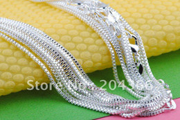 Free shipping wholesale 10pcs 925 sterling silver box Chain necklace 1MM