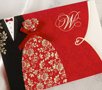 Invitations & Invitation Buckles Folded Red Classic Red Bride and Groom with Lace Tie Wedding Invitations Cards(25 Pcs Lot) with Envelopes and Seal, Customizable