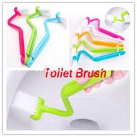 Wholesale Portable Toilet Brush Holder Scrubber V type Cleaner Bath Clean Brush Bent Handle