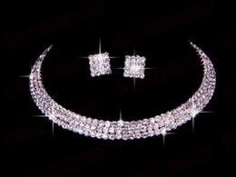 Wholesale Promotion Classic Fashion Bridal Jewelry Set Party Wedding Rhinestone Tiara Necklace Earrings Set