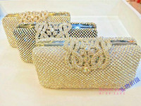Wholesale Fashion Handmade Crystal Rhineston Ladies Wedding Party Bridal Silver Golden Black Clutch Evening Bag Hand Beads Bag beaded Shoulder Purse