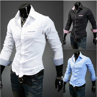 Fashion new men shirts Korean Long Sleeve Slim Fit Plaid cas...