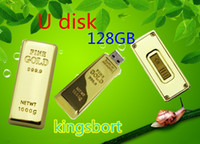 No USB 2.0 Metal Wholesale - -128GB Flash disk Fashion Gold bar USB 2.0 U disk plug and play Flash Memory USB flash driver High Quality FREE DHL Place an o9