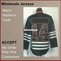 Wholesale Brand new Cheap Athletic Jerseys Jordan Eberle V Neck black Color Men s Hockey Jerseys size Mix Order Discount