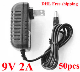 50pcs  Lot AC DC Wall Adapter DC 9V 2A Power Supply adapter 9V adaptor US Plug DHL free shipping
