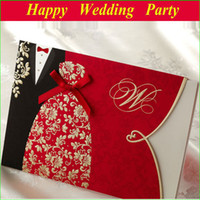 Wholesale 13112811 Tuxedo Dress and Bridal Design Wedding Invitation Embossed with free custom printing and envelope seal