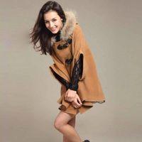 Wholesale S5Q Womens Hooded Poncho Cape Coat Winter Warm Fur Shawl Wool Coats Cloak AAACQH