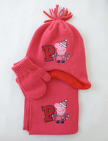 Wholesale Peppa Pig Baby Girls Kids Hat Scarf amp Mitten Gloves Piece Set Winter Warm Knitted Cap Christmas New Year Gifts