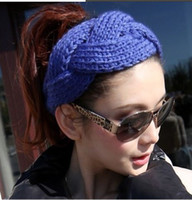 Wholesale NEW FASHION GIRLS WOMEN Headband Beanie Ear Warmer Handmade Knitted Crochet head wrap turban bow hairband Boutique colorful hair jewelry
